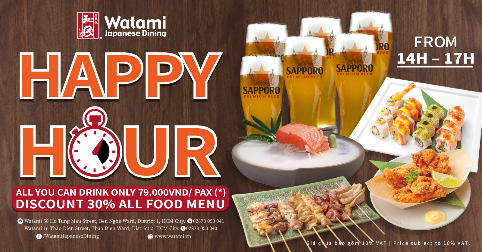 Happy hour - All you can drink only 79K/Pax at Watami Japanese Dining