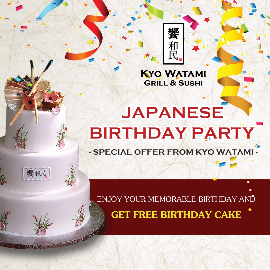 Excellent Japanese Birthday Party Special Offer From Kyo Watami Watami Personalised Birthday Cards Rectzonderlifede